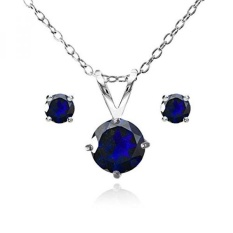 Sterling Perak Disimulasikan Safir Biru Sepanjang Solitaire Kalung dan Stud Anting-Anting Set-Internasional