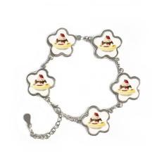 Pisang Stroberi Manis Es Krim Bunga Bentuk Gelang Logam Jaringan Perhiasan Gelang Dekorasi Hadiah-Internasional