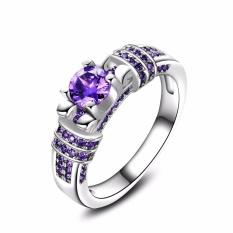 Review Bergaya Ungu Batu Wanita Cincin Elegan Aaa Zircon Pernikahan Rings Proposal Gift Intl Terbaru
