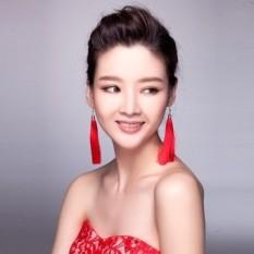 Suaylla chinese costume red long tassel earrings ear pin earrings bridal jewelry wedding dress - intl