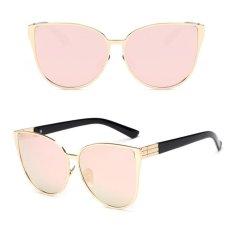 Jual Summer Beach Cat Eye Pink Logam Besar Cermin Wanita Sunglasses 08 Intl