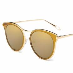 Musim Panas Wanita Round Sunglasses Ladies Metal Vintage Eyewear Merek Desainer Fashion Wanita Kacamata Terpolarisasi untuk Pesta Pantai dan Belanja- INTL