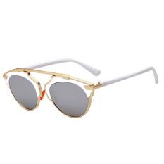 Kacamata Hitam Mata Kucing Cermin Vintage Lensa Abu-abu + Putih
