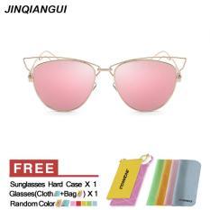 Beli Sunglasses Women Cat Eye Retro Pink Color Polaroid Lens Titanium Frame Driver Sunglasses Brand Design Original Box Women Oculos Cicilan