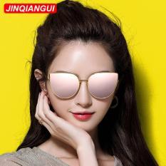 Kacamata Hitam Mata Kucing Perempuan Retro Warna Pink Polaroid Lensa Bingkai Titanium Driver Kacamata Merek Desain