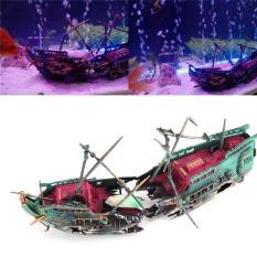Tenggelam Wreck Boat Aquarium Ornamen Kapal Berlayar Boat Destroyer Air Split Shipwreck Fish Tank Cave Decor Intl Oem Diskon 30