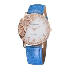 Sunshine Modern Yang Cantik Bunga Bertatahkan Berlian Ladies QUARTZ Analog Wrist Watches (Biru)
