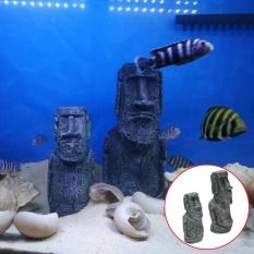 Sunshop Novelty Hadiah Mini Pulau Paskah Face Statue Aquarium Tangki Ikan Hiasan Meja Meja Dekorasi (L)-Intl