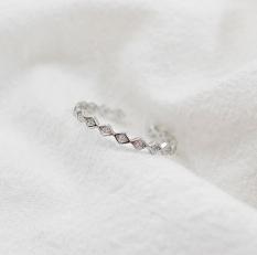 Super Tipis Putih 925 Perak Bertatah Berlian Cincin Cincin Terbuka