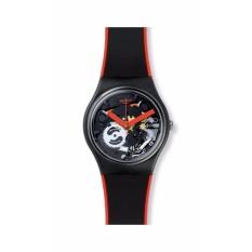 Beli Swatch Gb290 Red Frame Jam Tangan Wanita Bahan Tali Silikon Hitam Garis Merah Transparan Dial Baru