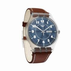 Swatch - Jam Tangan Pria - Bening-Biru - Strap Coklat - SUOK709