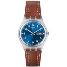 Swatch - Jam Tangan Wanita - Bening Biru - Strap Coklat - GE709