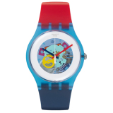 Promo Toko Swatch Jam Tangan Wanita Biru Putih Rubber Biru Merah Suos101