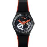 Jual Swatch Jam Tangan Wanita Hitam Hitam Rubber Hitam Oranye Gb290 Red Frame Branded Original