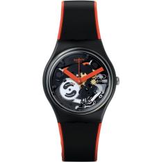 Swatch - Jam Tangan Wanita - Hitam-Hitam - Rubber Hitam Oranye - GB290 Red 9f03dd7179