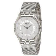 Swatch Jam Tangan Wanita Silver Resin Knit Grey Milanese Sfm118M Asli