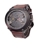 Swiss Army 076B Jam Tangan Kasual Pria Dark Brown Asli