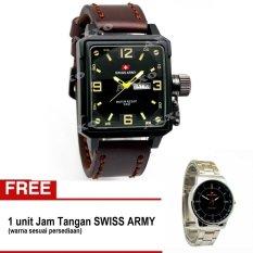 Spesifikasi Swiss Army Bogof Jam Tangan Pria Kulit Coklat Tua Sa 0050 Bonus 0055 Lengkap