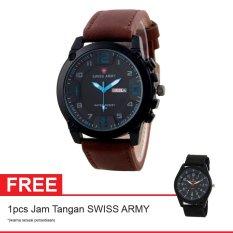 Swiss Army BOGOF Jam Tangan Pria - Kulit - Hitam -  SA 7169C BRW BLUE + Gratis Jam Tangan Swiss Army