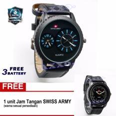 Spesifikasi Swiss Army Bogof Sa 0066 Dual Analog Jam Tangan Pria Kulit Hitam Variasi Biru Bonus Sa 0063 64 65 Baru