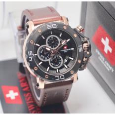 Diskon Swiss Army Chrono Jam Tangan Casual Pria Leather Strap Sa6410Bi Dark Brown Akhir Tahun