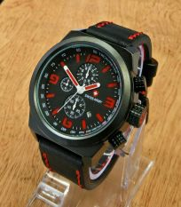 Beli Swiss Army Chrono Sa398 Jam Tangan Kasual Pria Leather Strap Black Red Pake Kartu Kredit