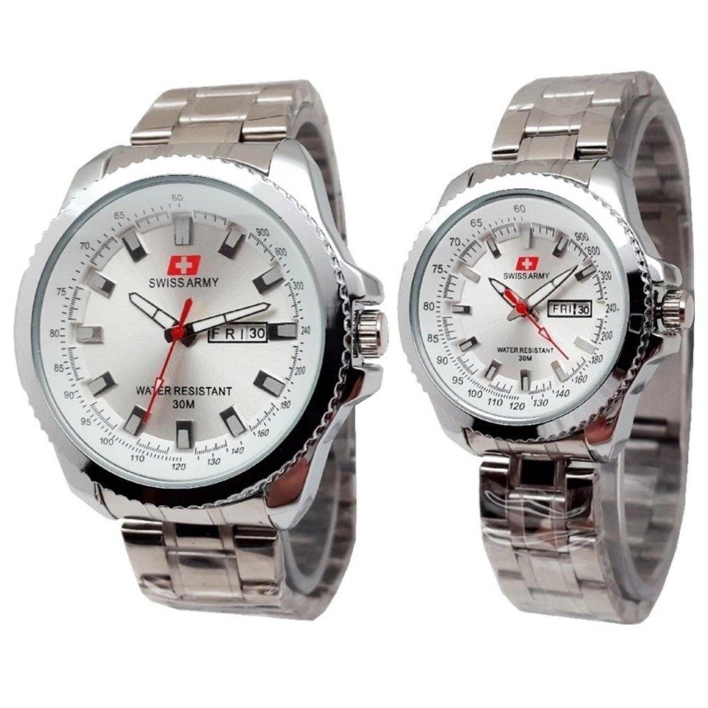 Swiss Army Couple - Jam Tangan Couple - Silver Stainless - Dial Putih - SA 4366