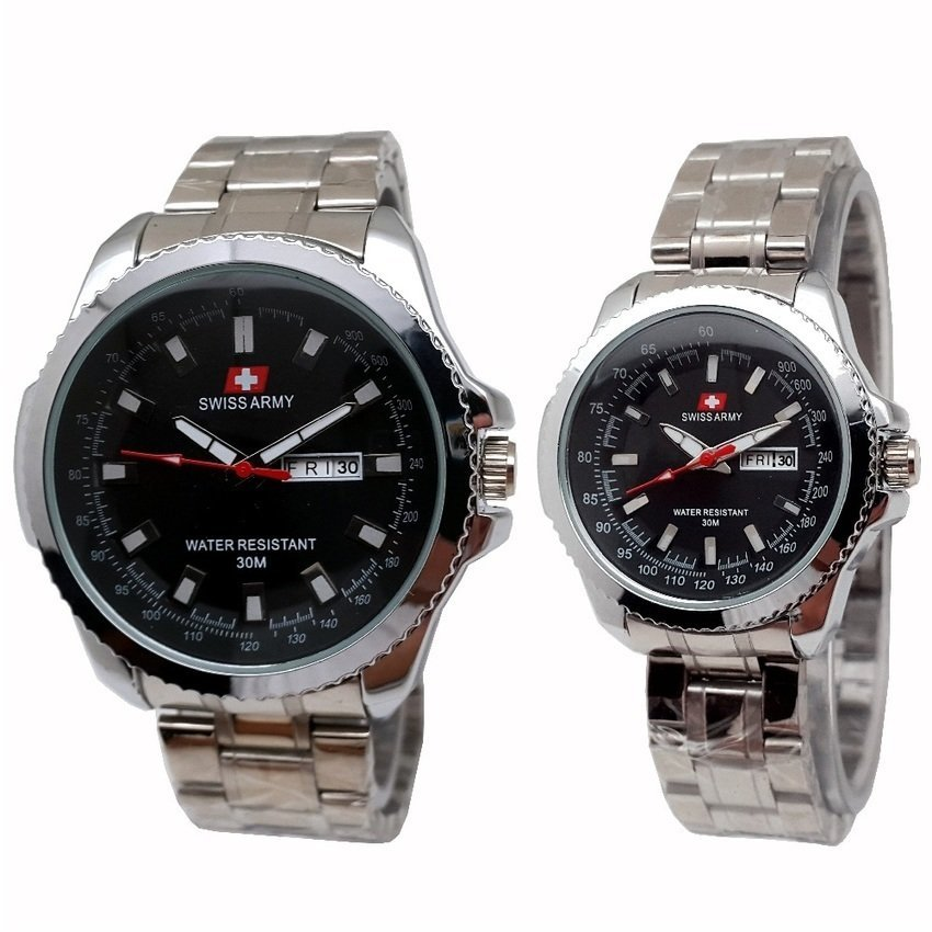 Swiss Army Couple - Jam Tangan Couple - Silver Stainless - Dial Hitam - SA 4366
