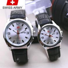 Swiss Army Couple - Jam Tangan Pasangan ? Tali Kulit - Coklat Plat Putih - Sa2960