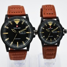 Harga Swiss Army Couple Sa 1650 Jam Tangan Kasual Couple Leather Strap Black Asli