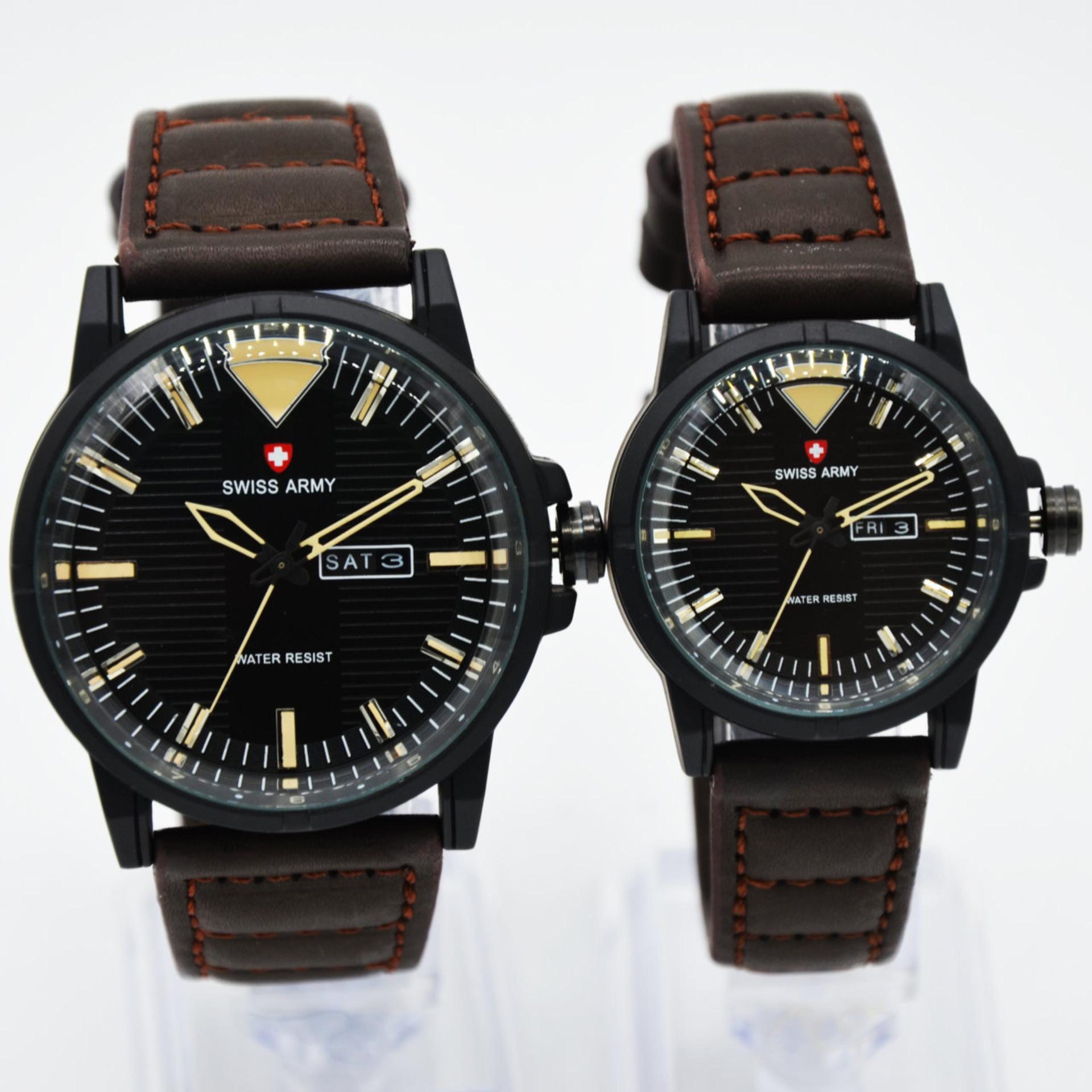 ... Tali Kulit - Hitam - Sa1911Black Gold Swiss Army Couple - SA 1650 - Jam Tangan Kasual Couple - Leather Strap [Black