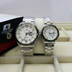 Kualitas Swiss Army Couple Stainless Steel Black Sa 3859 Silver White Couple Swiss Army