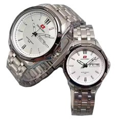 Swiss Army Couple Stainless Steel Silver Black White Sa1575Sbwcouple Swiss Army Diskon 50