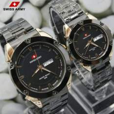 Toko Swiss Army Couple Stainless Steel Silver Sa0079 Ad Black Gold Couple Online Di Jawa Barat