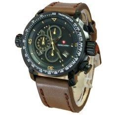 Harga Swiss Army Crhonograph Formal Man D48H250Sa4013Mckt Jam Tangan Pria Leather Strap Cokelat Tua Swiss Army Baru
