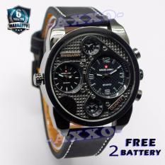 Spesifikasi Swiss Army Dual Time Jam Tangan Pria Hitam Strap Kulit Sa 9100 1 L Bagus