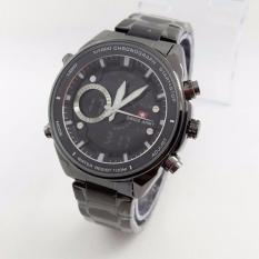 Swiss Army - Dual-Time- Jam Tangan Pria - SA 8808 ARTA - Stainless Steel - Full Black(Black)