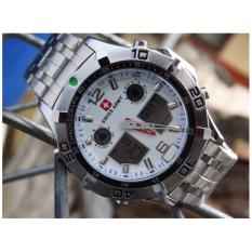 Diskon Swiss Army Dual Time Jam Tangan Pria Sa09916 Stainless Steel Swiss Army
