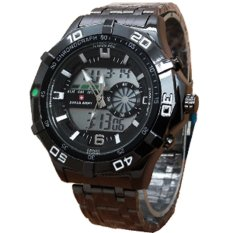 Harga Swiss Army Dual Time Jam Tangan Pria Stainless Steel Sa 079 Hitam Branded