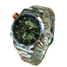 Swiss Army Dual Time - Jam Tangan Pria - Stainless Steel - SA 1066 Silver Orange