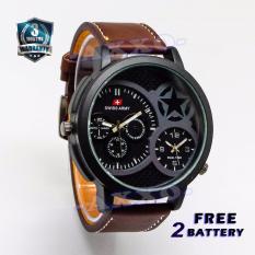 Swiss Army Dual Time - Jam Tangan Pria - Strap Kulit - Coklat Tua - SA 702