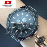 Jual Swiss Army Fashion Indigo Dual Time Jam Tangan Pria Strap Rantai Sa82633