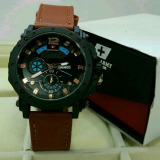 Swiss Army Fashion Jam Tangan Pria Leather Strap Sa0871 Swiss Army Diskon 50