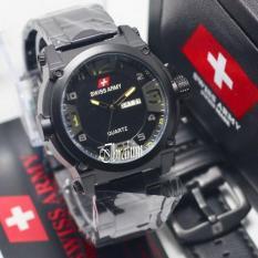 Swiss Army Hari Tanggal - Jam Tangan Fashion Pria & Wanita - Tali Rantai Stainless Steel - Bonus Talli Kulit