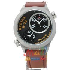 Swiss Army HCC-2068G Tali Kulit coklat Fitur Dua Waktu Jam Tangan Pria – Dial Hitam