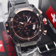 Swiss Army Indigo Dual Time Jam Tangan Pria Strap Rantai