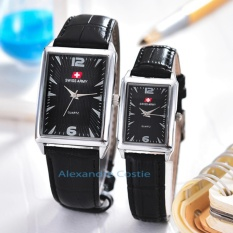 Jual Swiss Army Jam Tangan Couple Body Silver Black Dial Sa 2274Gl Sb Couple Black Leather Grosir