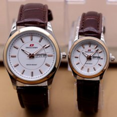 Swiss Army - Jam Tangan Couple - Leather Strap-coklat gold silver-SA X
