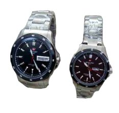 SWISS ARMY - JAM TANGAN COUPLE - SATINLES STEEL - SA 2167 SILVER BLACK COUPLE