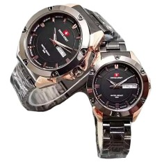 Swiss Army - Jam Tangan Couple - Stainless Steel - SA 1570 Black Gold Couple